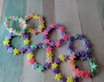 Kawaii bracelet, kei jewelry, fairy kei, kids stretchy bracelet, colourful star bracelets, acrylic bracelet, kawaii jewelry, cute bracelet