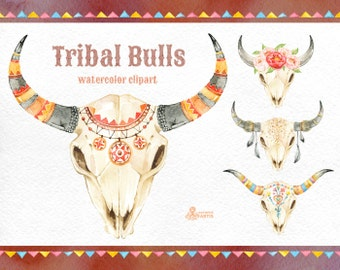Tribal Bulls. Watercolor hand painted clipart. 4 skulls with horns, 2 borders, peonies, floral, invite, diy clip art, flowers, feather, boho