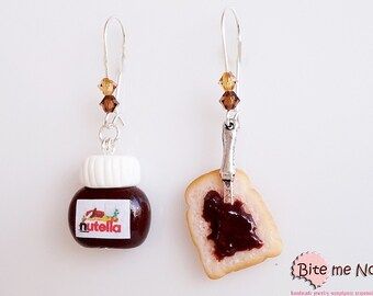 Nutella and Bread Dangle Kidney Earrings, Nutella Earrings, Food Jewelry, Nutella Jewelry, Polymer Clay Charms