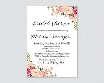 Bridal shower invitation printable or printed purple floral bridal shower invitation printable or printed rustic pink bridal shower invites shabby chic filmwisefo