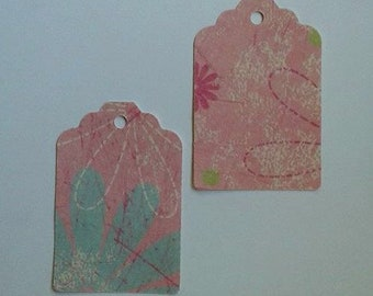 Pink Flower Power Gift Tags  /  Flowers / Gift Tag Set of 20