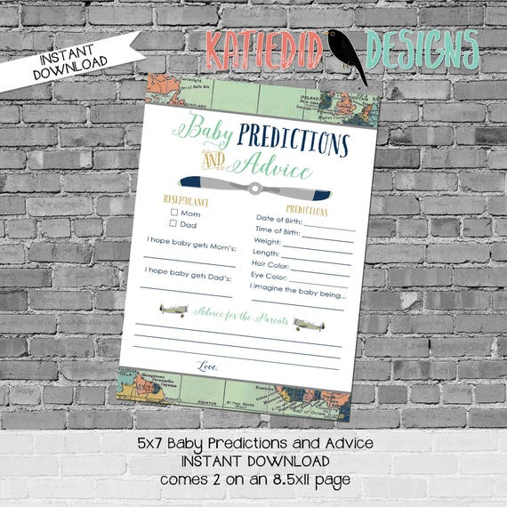gender reveal party game travel themed baby shower co-ed diaper wipe brunch airplane world map baby predictions stats 12124 Katiedid Designs