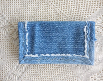 Upcycled denim checkbook cover with denim trim, sturdy hardworking denim for top tear checks and register w/ debit card pocket, upcycle 4