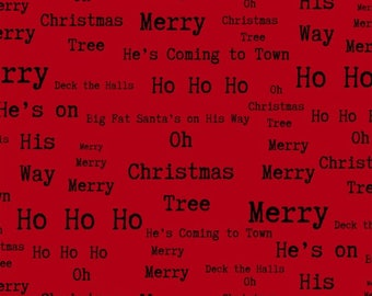 Christmas Words Fabric, Christmas Phrases - Around Town Christmas by DT- K Signature, Studio E - 3720 88 Red - Per half yard