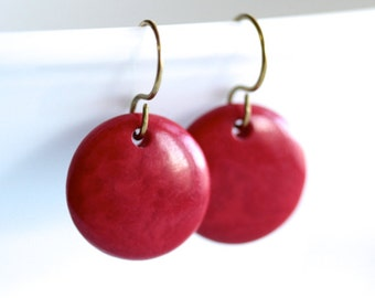 Red Tagua Nut Earrings - 'Staged Infatuation'