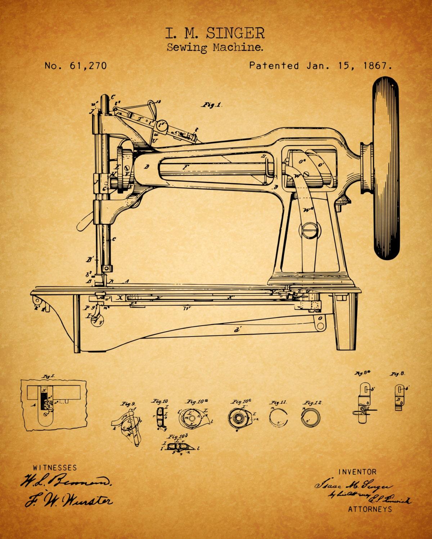 INSTANT DOWNLOAD 5 JPG Sewing Machine Art Sewing Machine