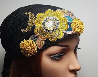 Black Floral Tichel , Head Scarf , Head Warp , Young Snood , Hair Covering , Mitpacaht Tichel , Chemo Hat , Headcovering , Ethnic Headwear