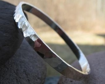 Heavy Sterling Silver Hammered Bangle . (( Disco Ball ))  . hammered to a faceted mirror shine . made to order