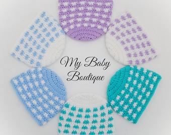 Simple Windows Baby Beanie - 9 Sizes - CROCHET PATTERN - NEW - hat, easy, quick, fast, girl, boy, toque, gift, newborn, child, preemie