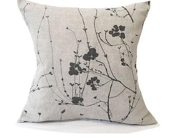 Linen Cushion- Grey Cushion- Floral- Modern Linen- Grey Pillow- Beige Pillow- Linen Throw Pillow- Cushion Cover- Bramble Grey- natural