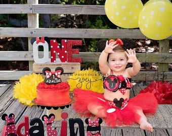 Gorgeous Minnie Mouse Cake Smash Birthday Outfit Tutu Set 3 Piece for Baby Girl 6-18 Months First Birthday Pageant Dress  sc 1 st  Etsy & Gorgeous Minnie Mouse Birthday Outfit Tutu Set 3 Piece for