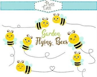 ON SALE Flying Bees Clip Art _ Bee Clip Art,Bumble Bee Clipart,Bees Digital Clip Art,printable,scrapbook,Garden, instant download clip art