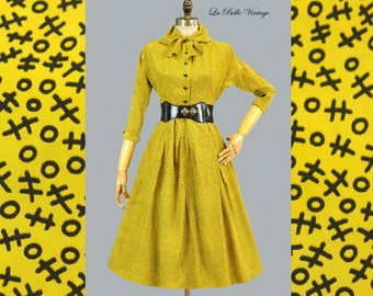 Jonathan Logan Tic Tac Toe 50s Dress S Vintage Novelty Full Skirt Frock