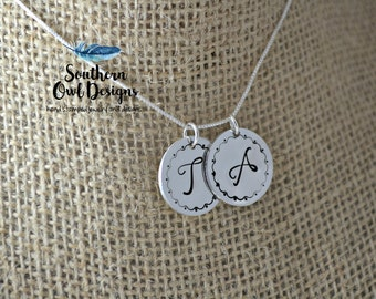 mom initial necklace - hand stamped mom necklace - sterling silver mom - hand stamped couples necklace - intial necklace