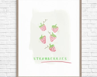Strawberry Art Print, Strawberry Illustration, Kitchen Wall Decor, Strawberry Wall Decor, Nursery Decor, Strawberry Fruit Printable Art
