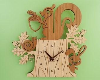 Wood Nursery Wall Clock: Woodland Forest Tree Animal Friends, Squirrel, Bunny, Birds, Snail Bamboo Decor for Baby, Boy, Girl, Kids, Children
