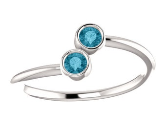 London Blue Topaz, Stacking Ring, Dual Stone, 14K White or Yellow Gold