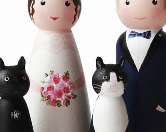 Pet cat wedding cake topper - bride and groom with two cats. Personalised hand painted wooden peg doll family portrait dolls