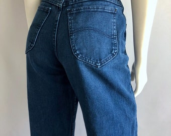 Vintage Women's 80's Lee Jeans, High Waisted, Navy Blue, Petite, Colored Denim (M)