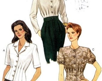 Vogue 9413 Feminine and Uber Classy Blouse with Front & Back Tucks 1996 / SZ6-10 UNCUT