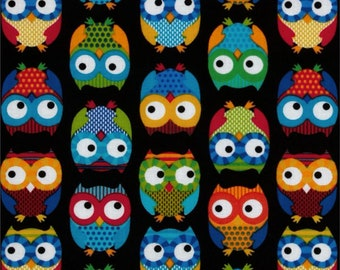 Multi-Colored Owls on Black Cotton Fabric From Timeless  Treasure By The Yard / Half Yard
