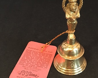 Vintage 1948 Brass Hanuman Monkey God Worshiping Hand Bell