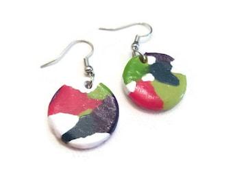 Colorful Earrings, Colorful Clay Earrings, Colorful Dangle Earrings, Bright Dangle Earrings, Polymer Clay Earrings, Bright Earrings