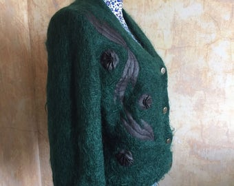 Fabulously Retro 1980's Cardigan in Emerald Green with Black Leather Detailing