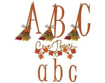 Instant Digital Download 4x4 Fall Raking Leaves Script Alphabet Autumn Font Set  Machine Embroidery Designs