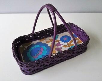 Vintage Wicker Bread Basket - Purple Wicker Basket - Easter Basket - Made In Holland - 1970s