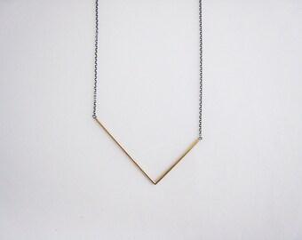 brass asymmetrical V necklace, long