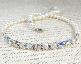 Bridal Pearl Necklace, White Pearl Wedding Jewelry, Bride Necklace, Swarovski Pearls, Crystals Rhinestones, Sterling Silver, June Birthstone