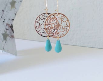Sophisticated earrings filigree multi print stars rose gold and drop pastel blue