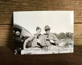 Vintage Original Real Photo WWI Era with Two Military Men with Beer and Gun