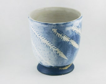 Wheel Thrown Tumbler: Large Handleless 12 ounce oz pottery, Blue & White with a Fern leaf pattern, Handmade Ceramic stoneware