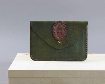 Green  Embossed Leather Purse  Suede Card Wallet  Passport Holder  Coin Wallet  African Mask  Passport Wallet  African Print  Vintage Mask
