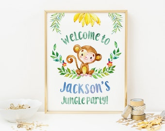 Little Monkey party sign, PRINTABLE Personalised monkey welcome sign, Boys birthday sign, Jungle party decorations, Kids party printable pdf