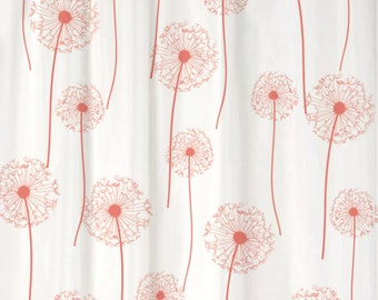 Dandelion Floral Shower Curtain You PICK COLORS Standard or Extra Long Length 70, 78, 84, or 96 Inch Lengths for Your Coral bathroom