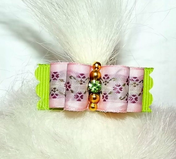 Puppy Bows ~   Pink lime green floral dog grooming bow pet hair barrette