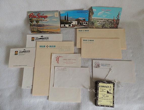 46 Pcs Vtg Palm Springs Ephemera Paper Lot.. Hotel Stationery, Postcards & More