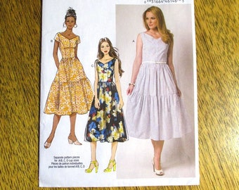 RETRO-Inspired Country Girl Dress / Tiered Fit and Flare Summer Dress - Size (6 - 8 - 10 - 12 - 14) - UNCUT ff Sewing Pattern Butterick 6203