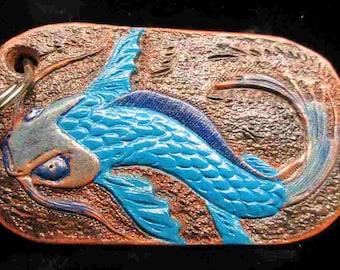 Koi keychains, custom tooled koi fish, key rings, key chains, blue koi fish, red koi fish, key fobs