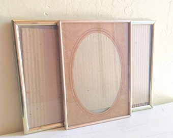 Trio of Matching Unique 6x8 Inch Vintage Gold Metal Picture Frames