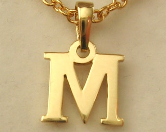 Genuine SOLID 9K 9ct YELLOW GOLD 3D Initial M Letter Pendant