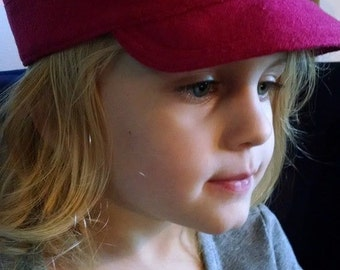 CUSTOM MADE Cuban Style Cap, pink wool hat for girls