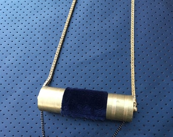 ROYAL Blue Velvet and Brass Pendant Necklace on Snake Chain