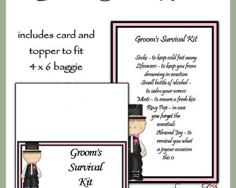 Groom's Survival Kit includes Topper and Card - Digital Printable - Immediate Download