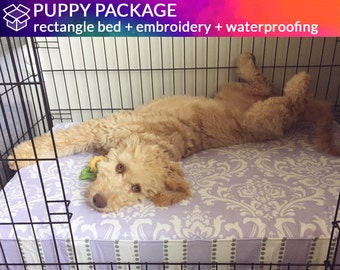 PUPPY PACKAGE - Custom Rectangle, Round or Square Bed with Waterproof Seat Insert Cover and Embroidery