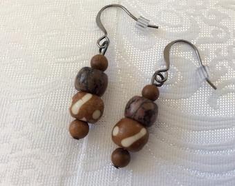 Jasper and Agate stone with bone beads dangle drop earrings