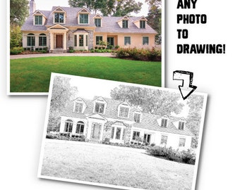 Custom B&W Sketch of Your Home/  Unique New Home Gift/ Digital Drawing of Home/ Home Illustration /Housewarming Gift - 8x10, 11x14, 12x16